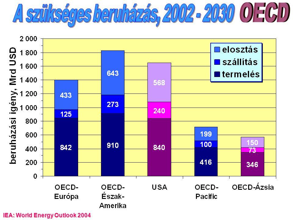 A szükséges beruházás, 2002 - 2030
