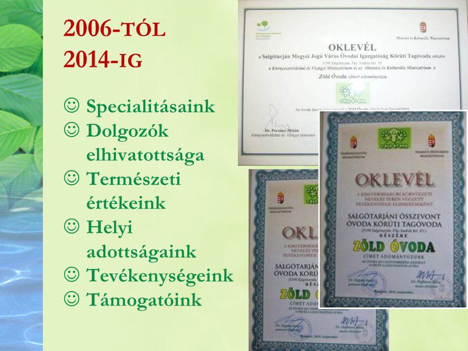2006-tól 2014-ig Specialitásaink Dolgozók elhivatottsága