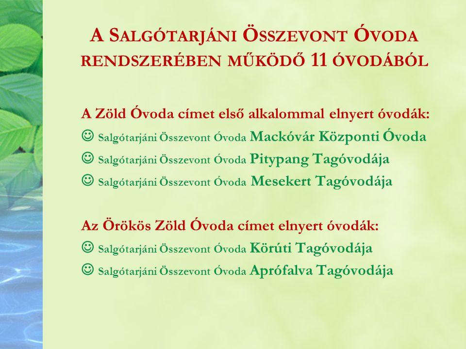 A Salgótarjáni Összevont Óvoda rendszerében működő 11 óvodából