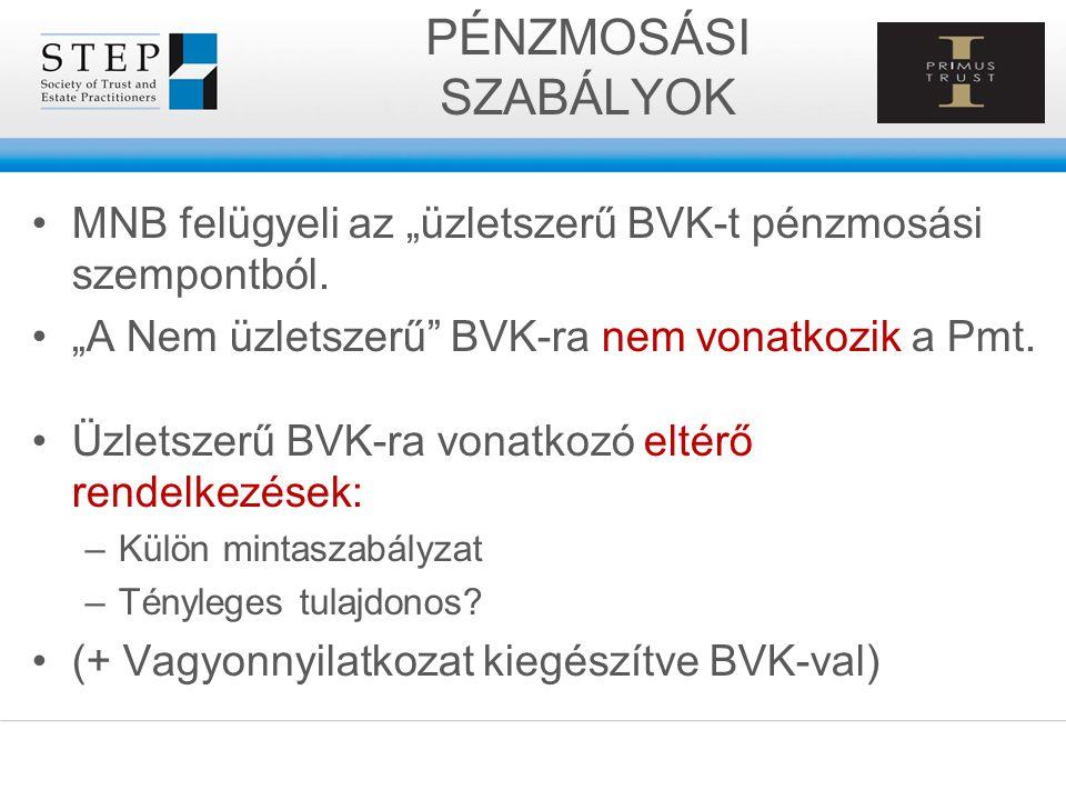 """PÉNZMOSÁSI SZABÁLYOK MNB felügyeli az """"üzletszerű BVK-t pénzmosási szempontból. """"A Nem üzletszerű BVK-ra nem vonatkozik a Pmt."""
