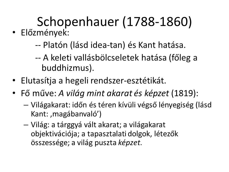 Schopenhauer (1788-1860) Előzmények: