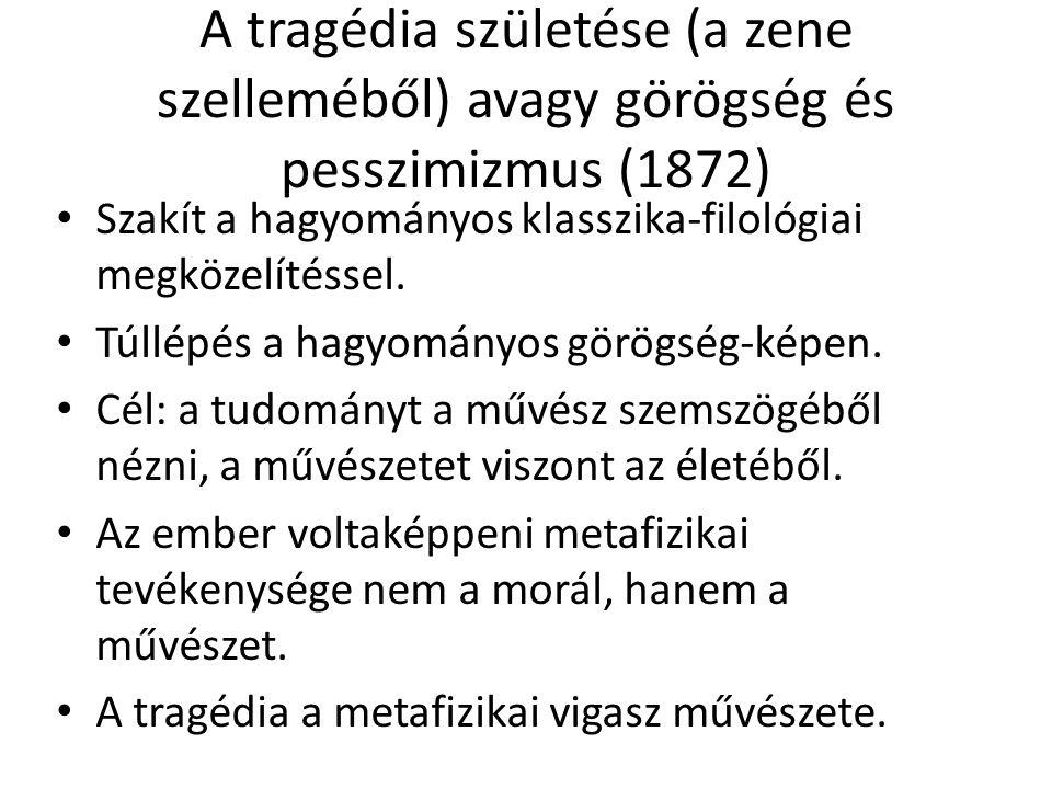 A tragédia születése (a zene szelleméből) avagy görögség és pesszimizmus (1872)