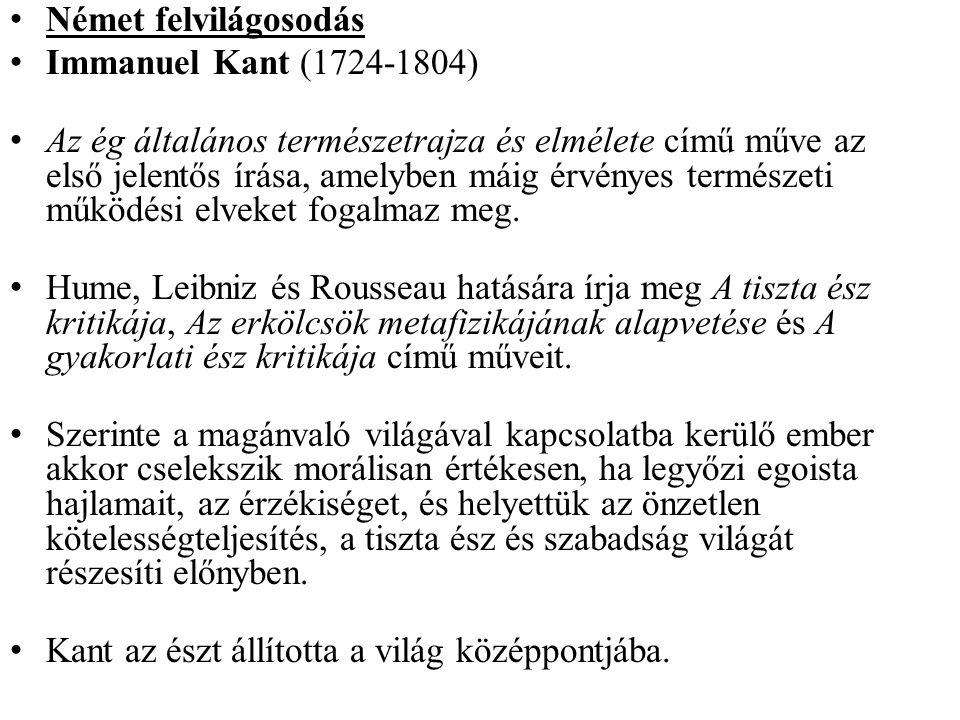 Német felvilágosodás Immanuel Kant (1724-1804)