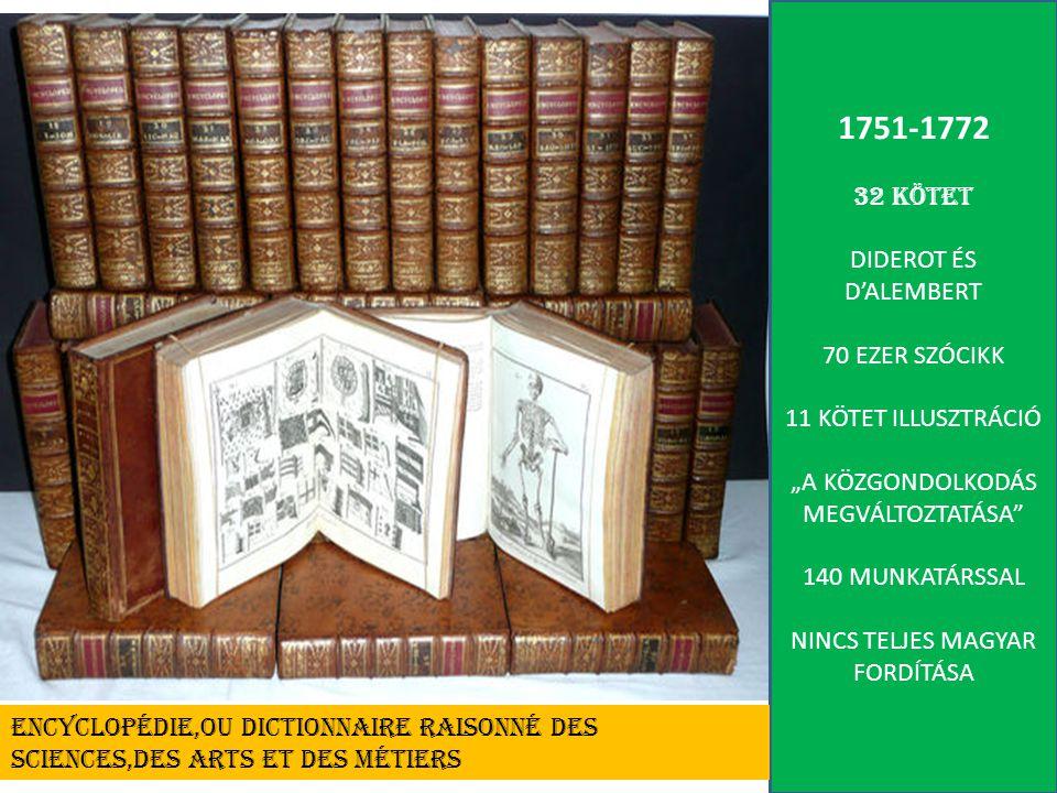 1751-1772 32 KÖTET DIDEROT ÉS D'ALEMBERT 70 EZER SZÓCIKK