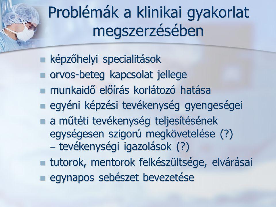Problémák a klinikai gyakorlat megszerzésében