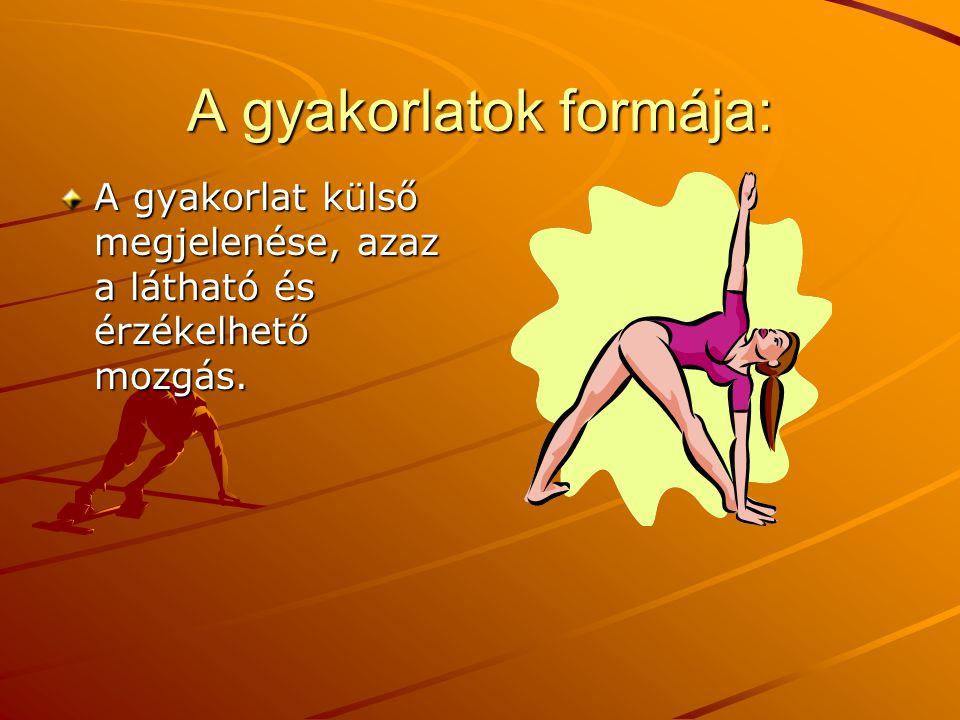 A gyakorlatok formája: