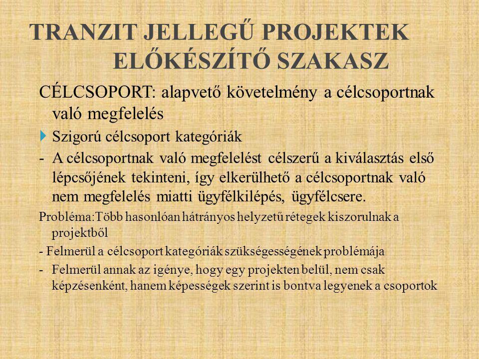 TRANZIT JELLEGŰ PROJEKTEK ELŐKÉSZÍTŐ SZAKASZ