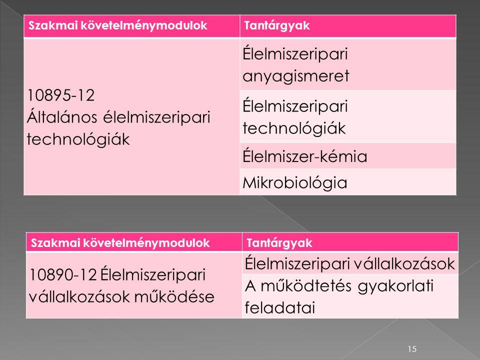 10895-12 Általános élelmiszeripari technológiák