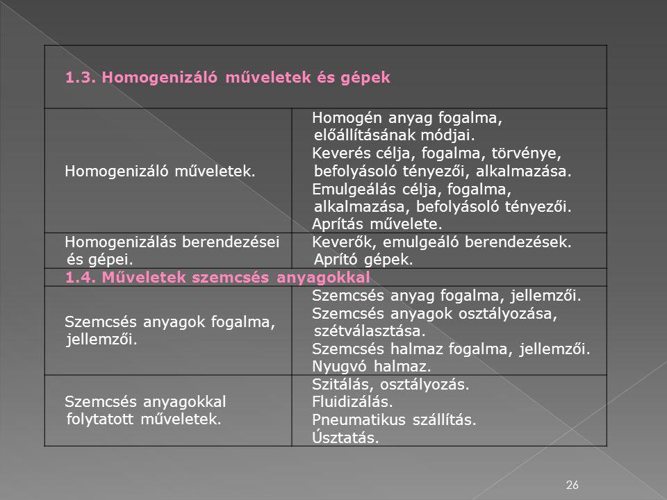 1.3. Homogenizáló műveletek és gépek