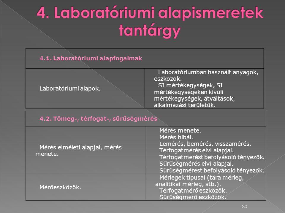 4. Laboratóriumi alapismeretek tantárgy