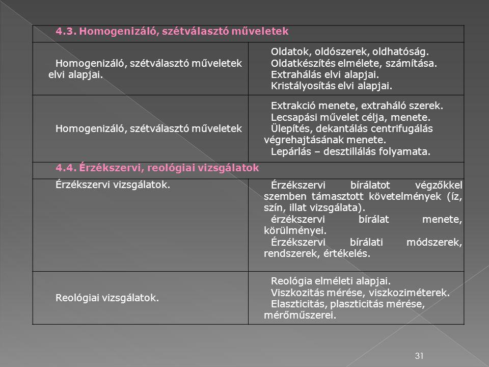 4.3. Homogenizáló, szétválasztó műveletek