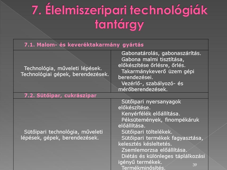 7. Élelmiszeripari technológiák tantárgy