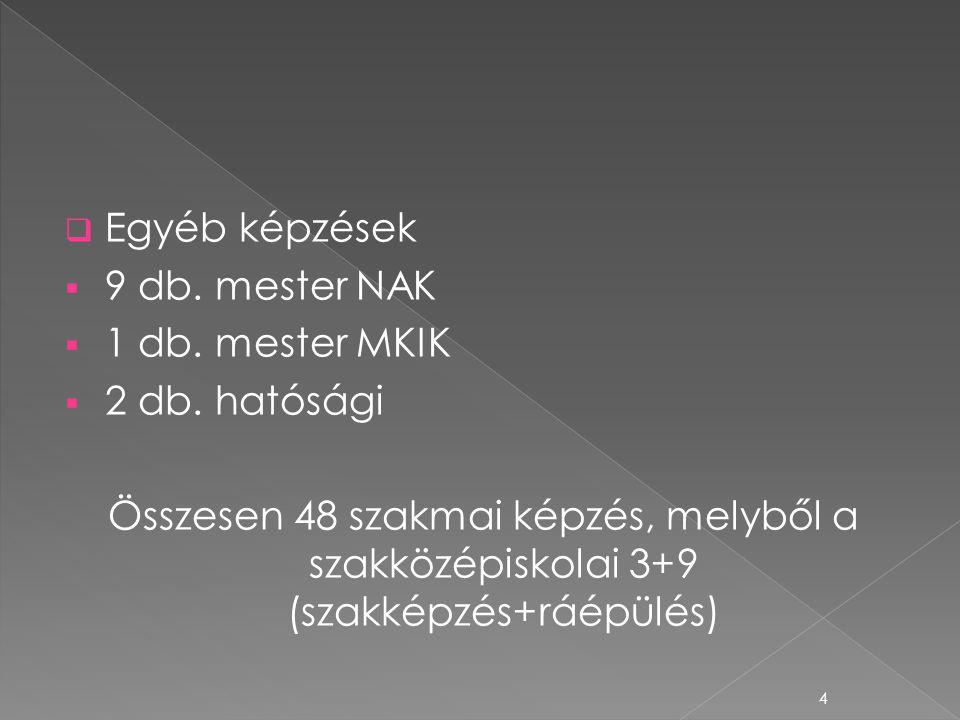 Egyéb képzések 9 db. mester NAK. 1 db. mester MKIK. 2 db. hatósági.