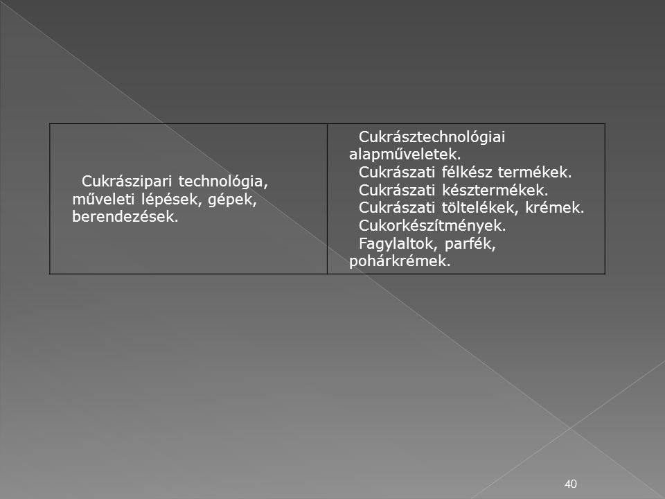 Cukrászipari technológia, műveleti lépések, gépek, berendezések.