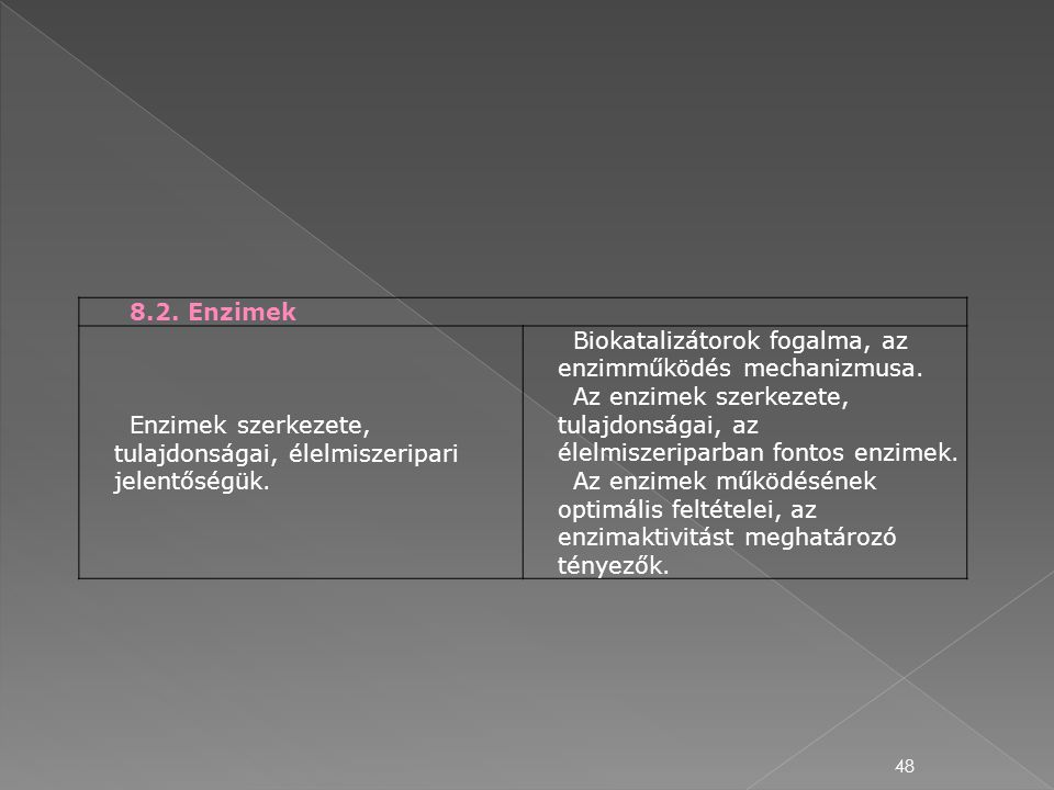 8.2. Enzimek Enzimek szerkezete, tulajdonságai, élelmiszeripari jelentőségük. Biokatalizátorok fogalma, az enzimműködés mechanizmusa.