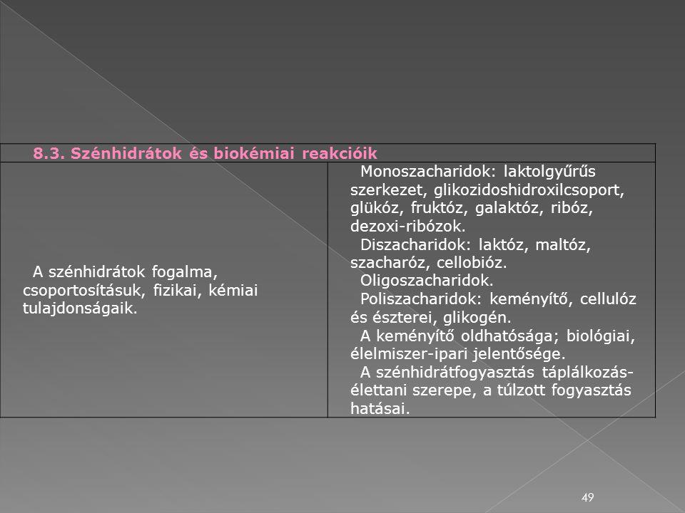 8.3. Szénhidrátok és biokémiai reakcióik