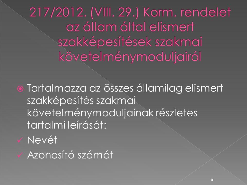 217/2012. (VIII. 29.) Korm. rendelet az állam által elismert szakképesítések szakmai követelménymoduljairól