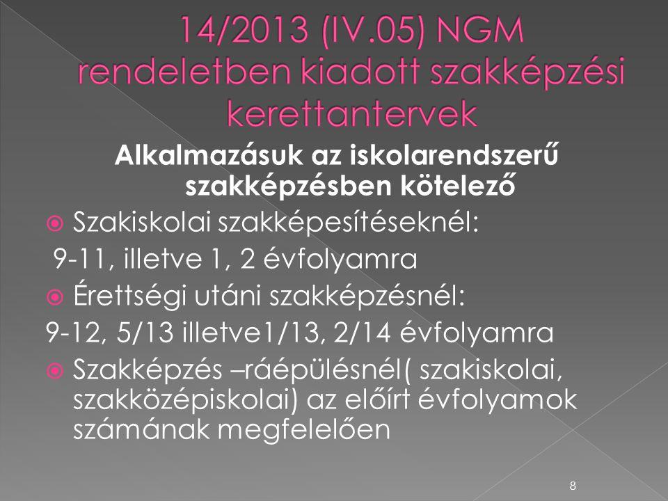 14/2013 (IV.05) NGM rendeletben kiadott szakképzési kerettantervek