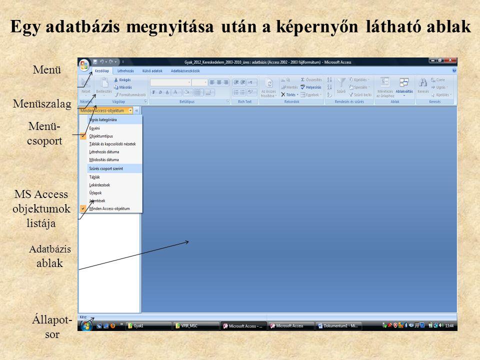 Egy adatbázis megnyitása után a képernyőn látható ablak
