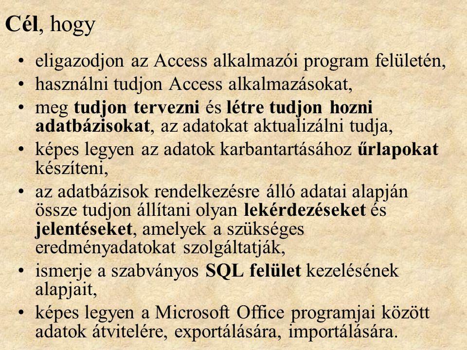 Cél, hogy eligazodjon az Access alkalmazói program felületén,