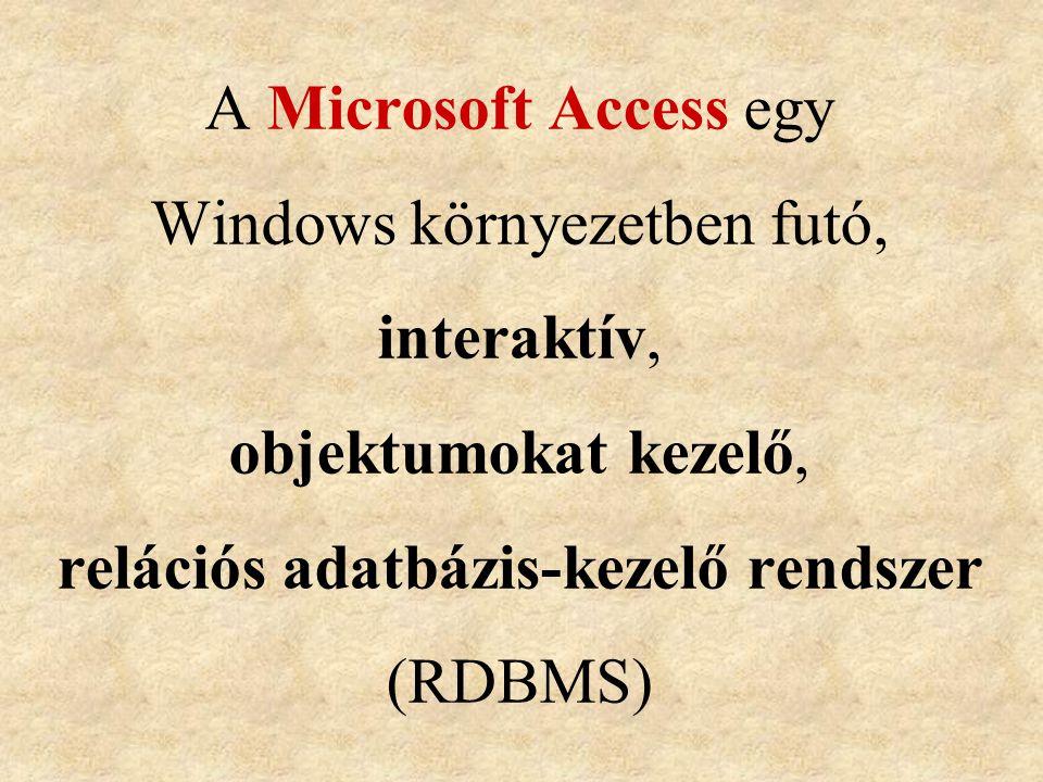 A Microsoft Access egy Windows környezetben futó, interaktív, objektumokat kezelő, relációs adatbázis-kezelő rendszer (RDBMS)