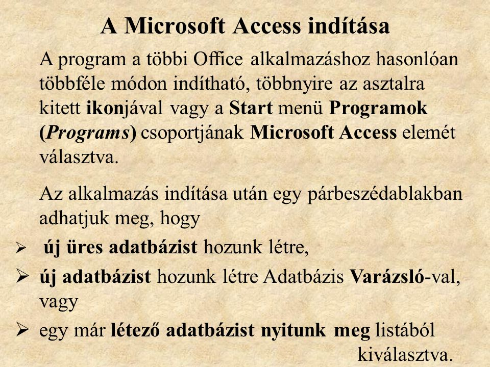 A Microsoft Access indítása