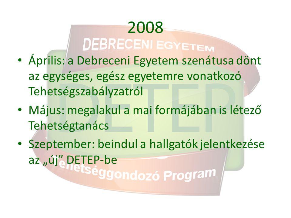 2008 Április: a Debreceni Egyetem szenátusa dönt az egységes, egész egyetemre vonatkozó Tehetségszabályzatról.