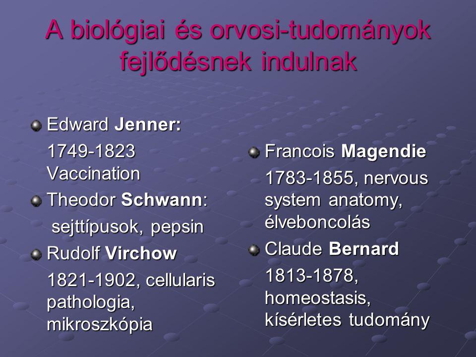 A biológiai és orvosi-tudományok fejlődésnek indulnak