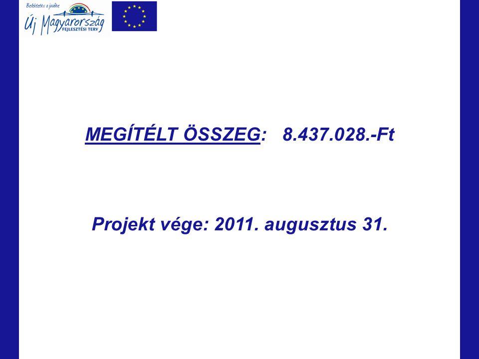 Projekt vége: 2011. augusztus 31.