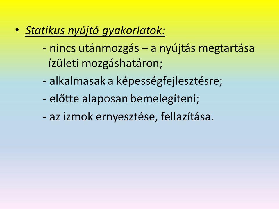 Statikus nyújtó gyakorlatok: