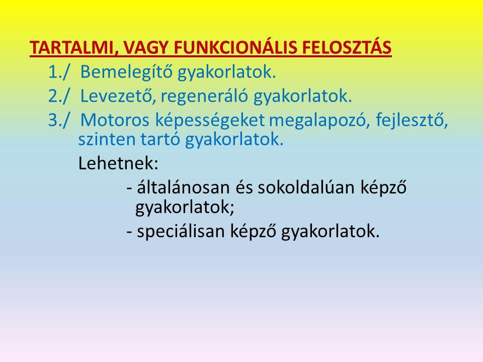 TARTALMI, VAGY FUNKCIONÁLIS FELOSZTÁS 1. / Bemelegítő gyakorlatok. 2