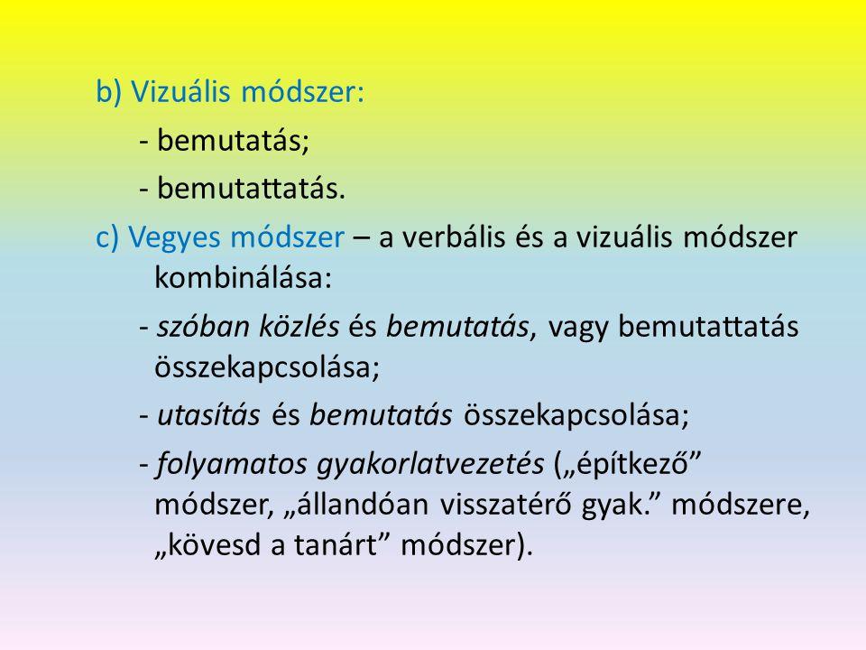 b) Vizuális módszer: - bemutatás; - bemutattatás