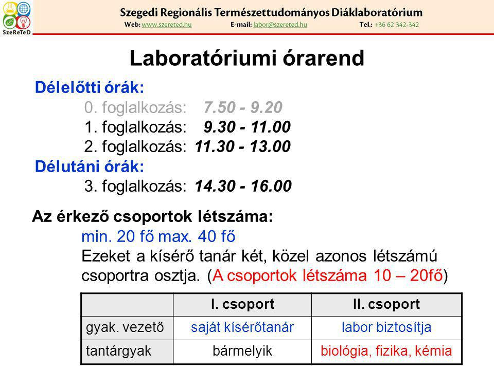 Laboratóriumi órarend