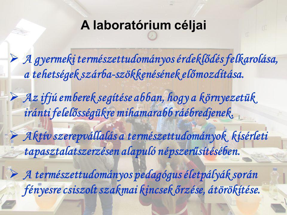 A laboratórium céljai A gyermeki természettudományos érdeklődés felkarolása, a tehetségek szárba-szökkenésének előmozdítása.