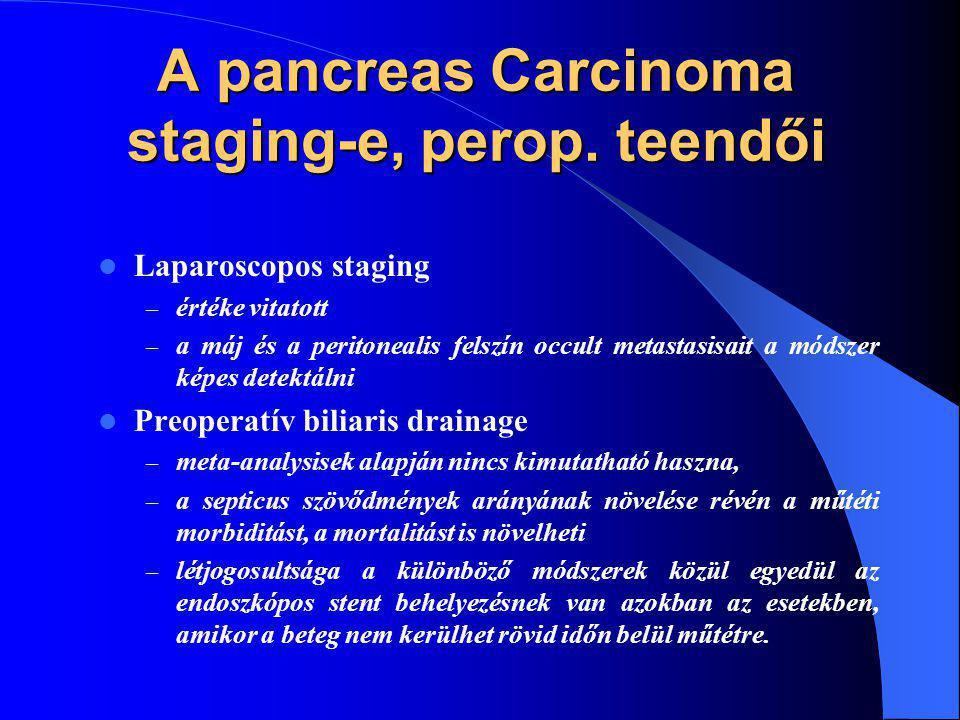 A pancreas Carcinoma staging-e, perop. teendői