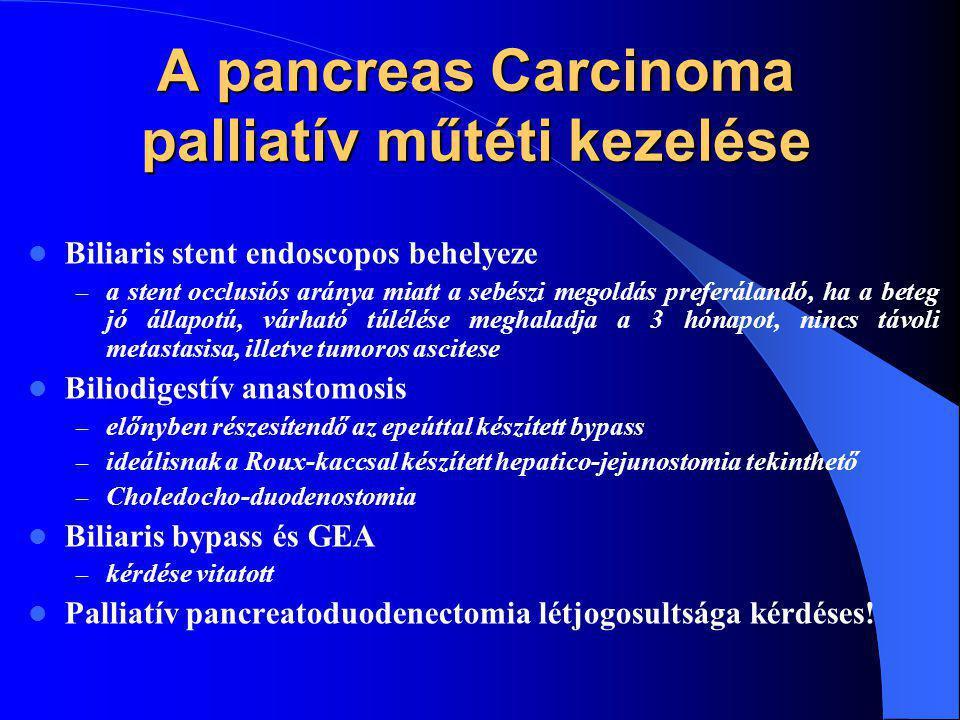 A pancreas Carcinoma palliatív műtéti kezelése