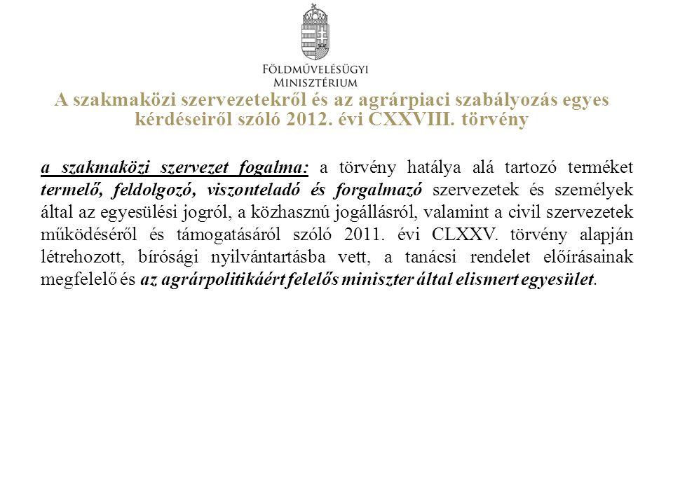 A szakmaközi szervezetekről és az agrárpiaci szabályozás egyes kérdéseiről szóló 2012. évi CXXVIII. törvény