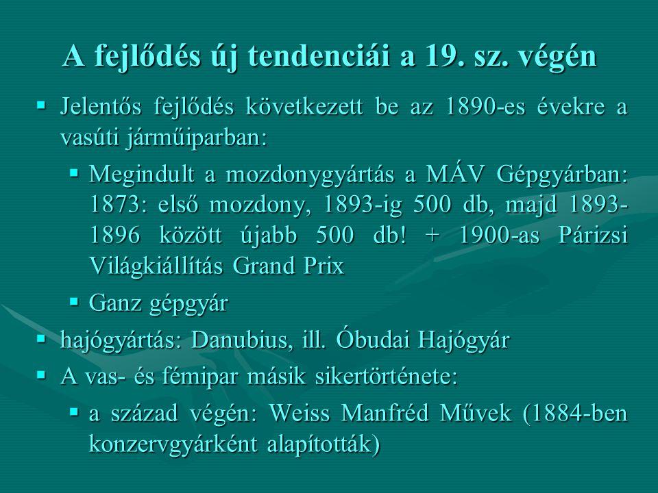 A fejlődés új tendenciái a 19. sz. végén