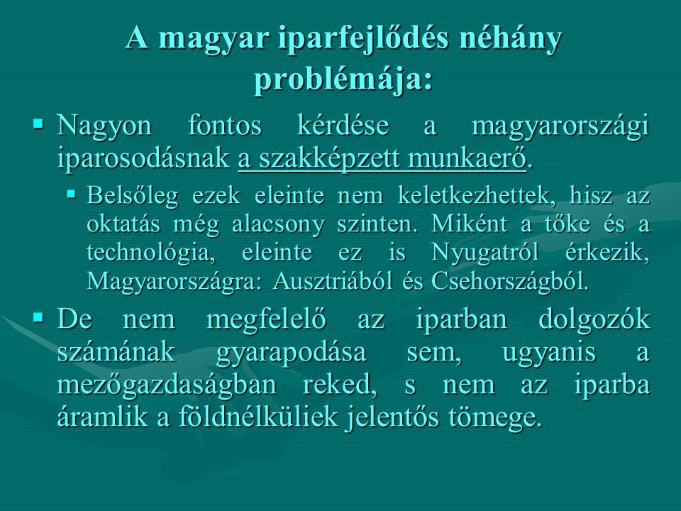 A magyar iparfejlődés néhány problémája: