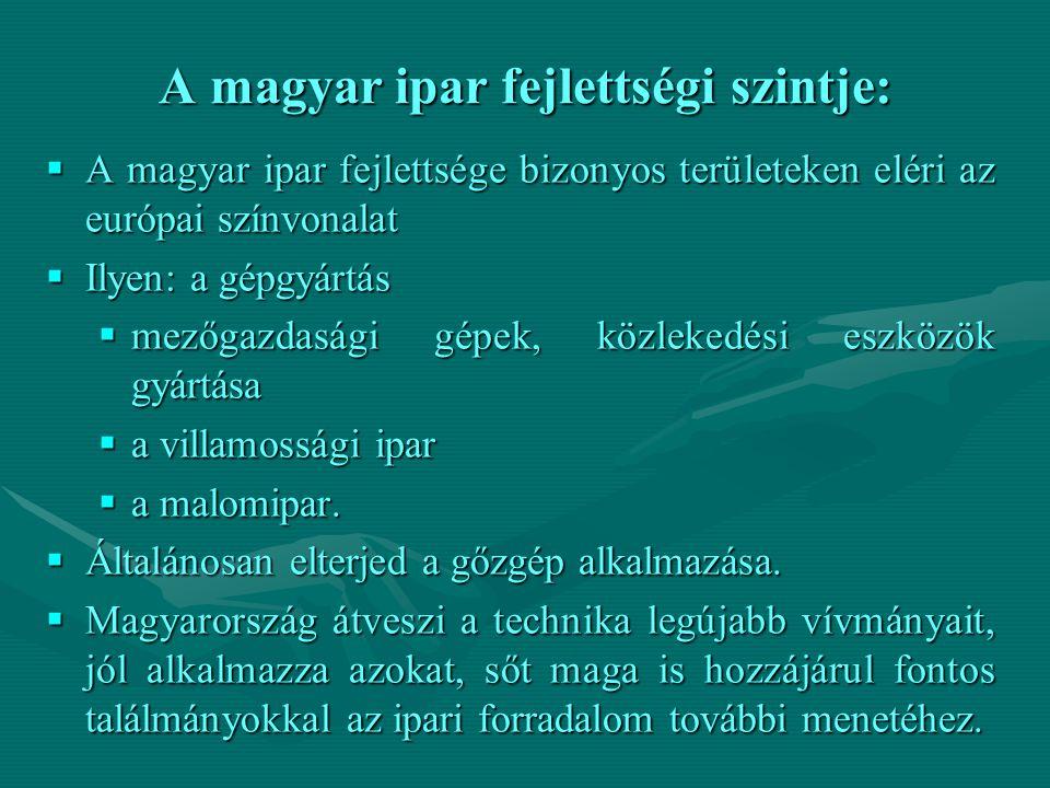 A magyar ipar fejlettségi szintje: