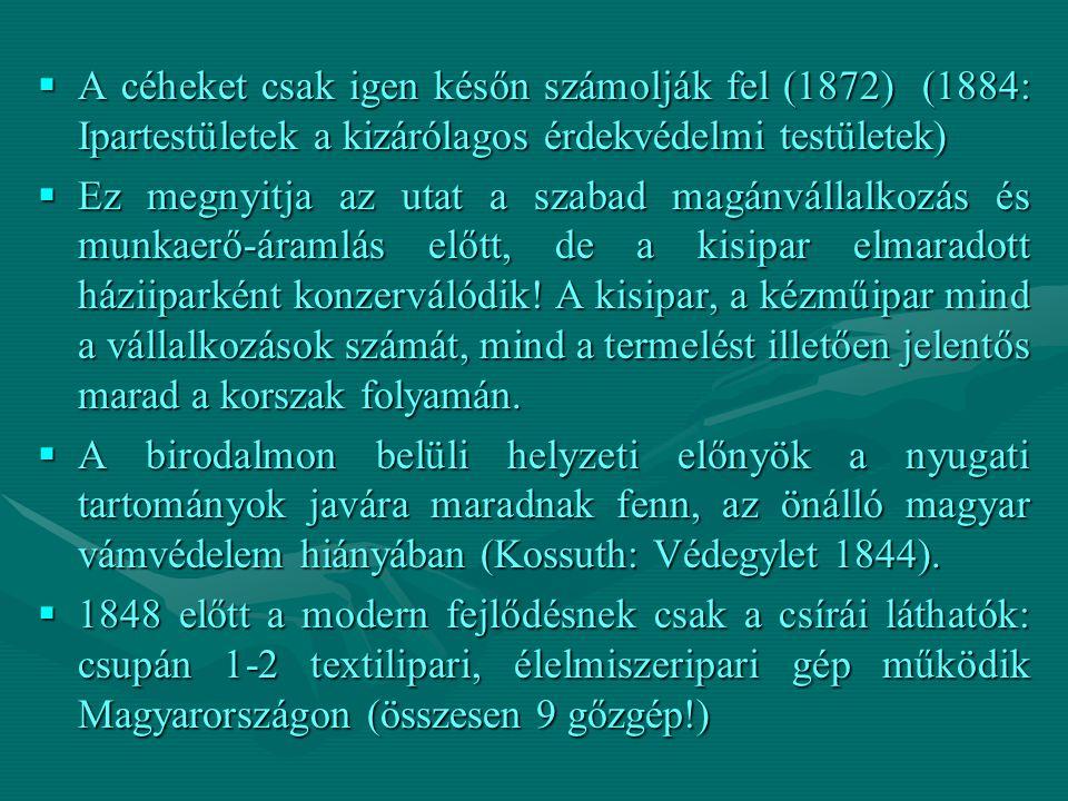A céheket csak igen későn számolják fel (1872) (1884: Ipartestületek a kizárólagos érdekvédelmi testületek)