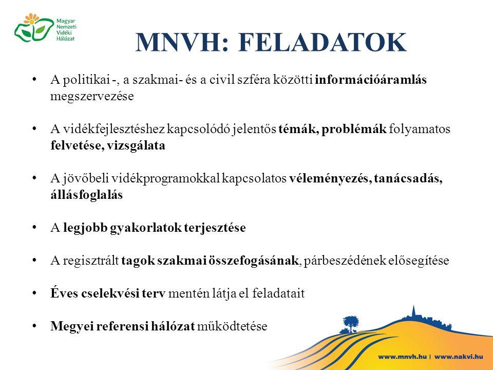 MNVH: FELADATOK A politikai -, a szakmai- és a civil szféra közötti információáramlás megszervezése.