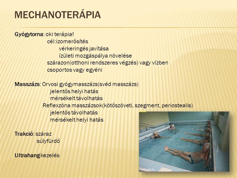 Mechanoterápia Gyógytorna: oki terápia! cél:izomerősítés