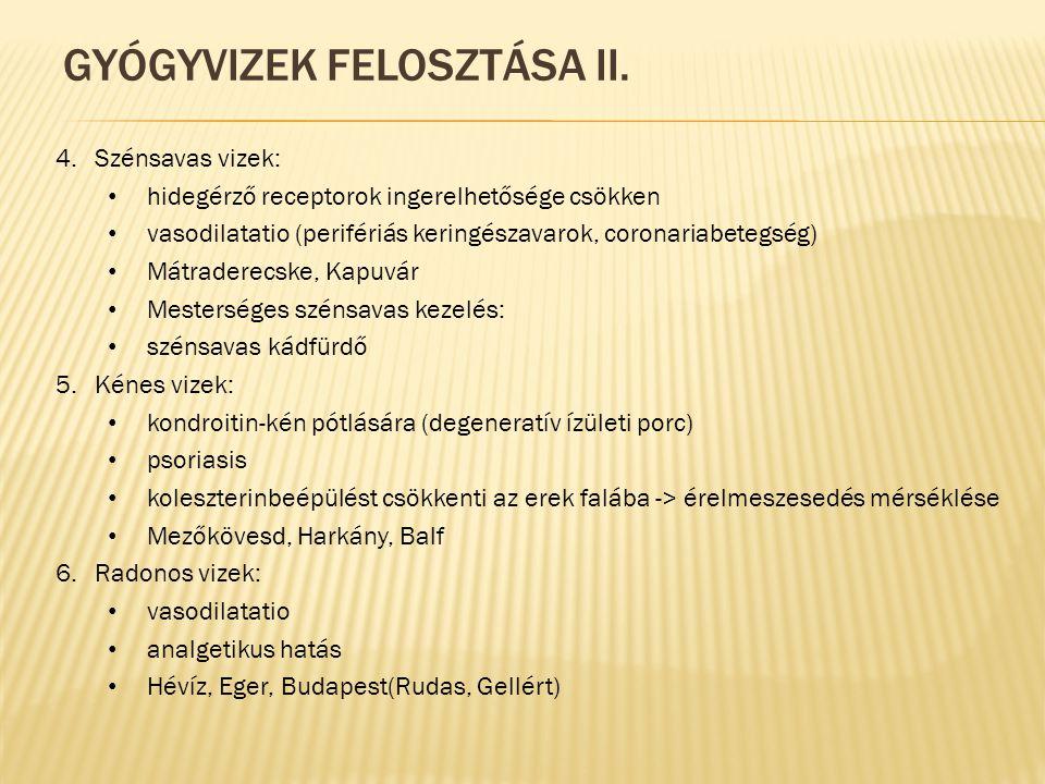 Gyógyvizek felosztása II.