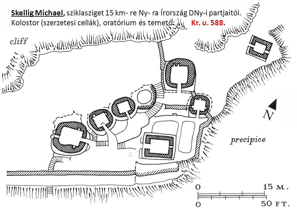 Skellig Michael, sziklasziget 15 km- re Ny- ra Írország DNy-i partjaitól.