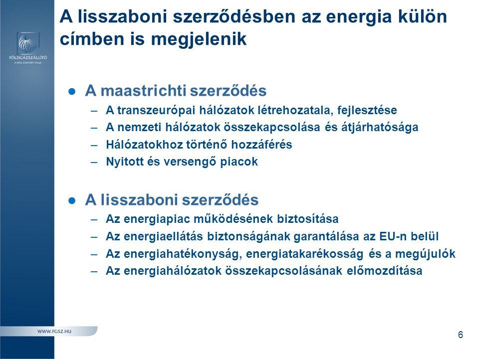 A lisszaboni szerződésben az energia külön címben is megjelenik