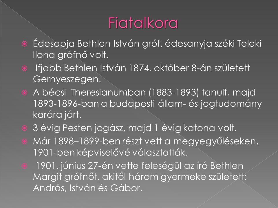 Fiatalkora Édesapja Bethlen István gróf, édesanyja széki Teleki Ilona grófnő volt. Ifjabb Bethlen István 1874. október 8-án született Gernyeszegen.