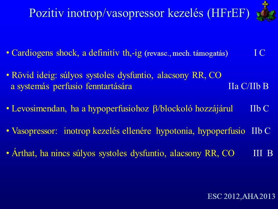 Pozitiv inotrop/vasopressor kezelés (HFrEF)