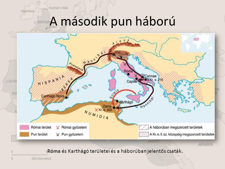 A második pun háború Róma és Karthágó területei és a háborúban jelentős csaták.