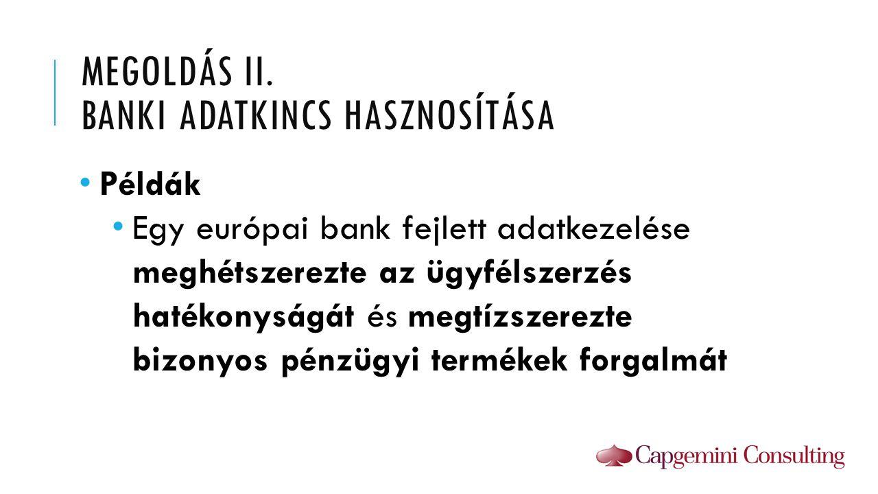 Megoldás II. Banki Adatkincs hasznosítása